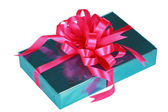 Sky blue present with pink bow — Stock Photo