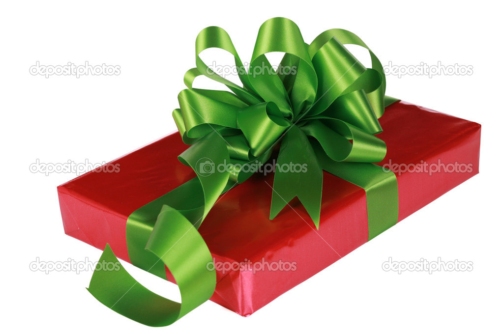Red present with green ribbons and bow  Stock Photo #2719921