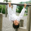 Little girl upside down at playground — Stock Photo