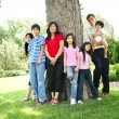 Large multiracial family of seven — Stock Photo #3121893