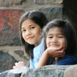 Stock Photo: Children looking out over stone wall