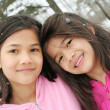 Stock Photo: Two girls enjoying the winter