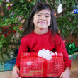 Child with Christmas gifts — Stockfoto