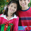 Brother and sister with gifts - Stock Photo