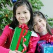 Two sisters with Christmas gifts - Stock Photo