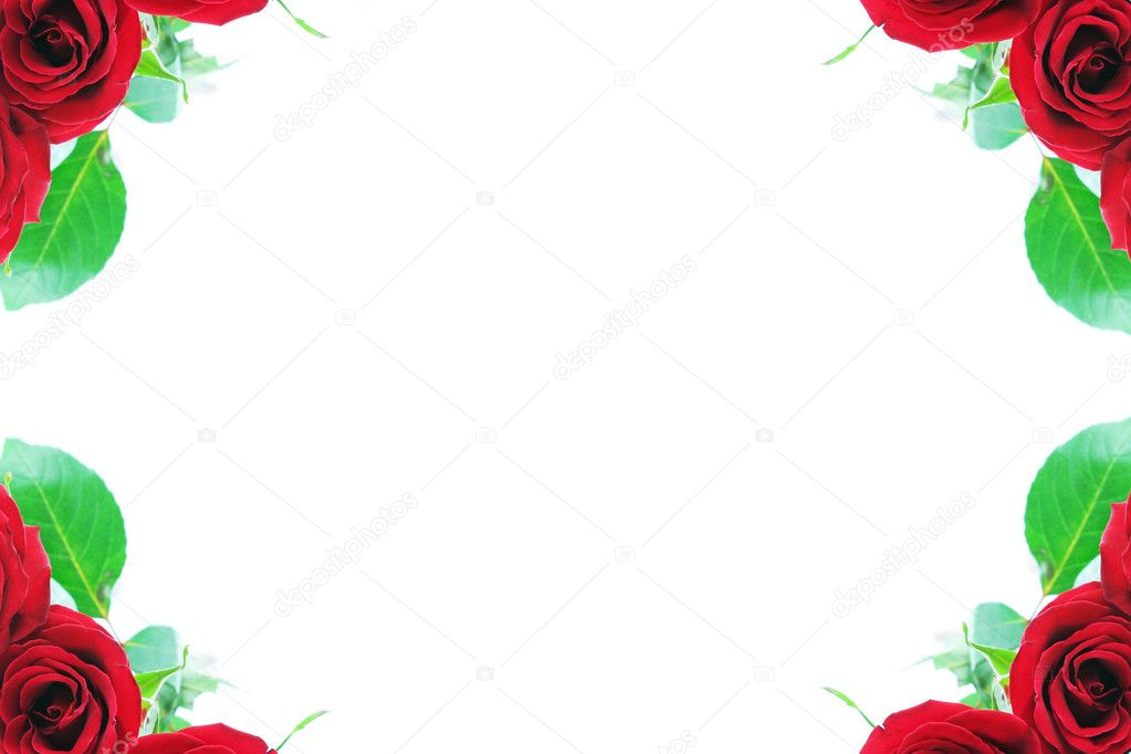 美丽的红玫瑰装饰与多中心型空间角部的边框