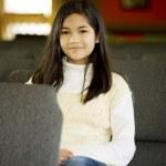 Little girl sitting in church — Stock Photo