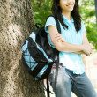 Young teen girl standing with backpack — Stock Photo