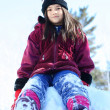 YOung girl on snow hill — Stock Photo #3519281