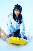 Teen sledding — Stock Photo