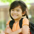Stock Photo: Adorable five year old girl ready for first day of school;