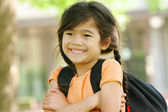 Adorable five year old girl ready for first day of school; — Stockfoto