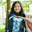 Stock Photo: Girl sitting with her backpack in front of school