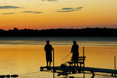 Silhouette of children fishing — Stockfoto
