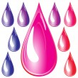 Set of color drops - Stock Vector