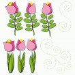 Set of cartoon flowers — Stock Vector