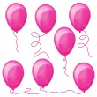 Set of Pink balloons with strings. — Stock Vector #3043851