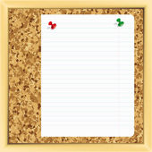 Note paper on cork board. — Stock Vector