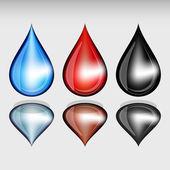 Set kleur druppels. — Stockvector