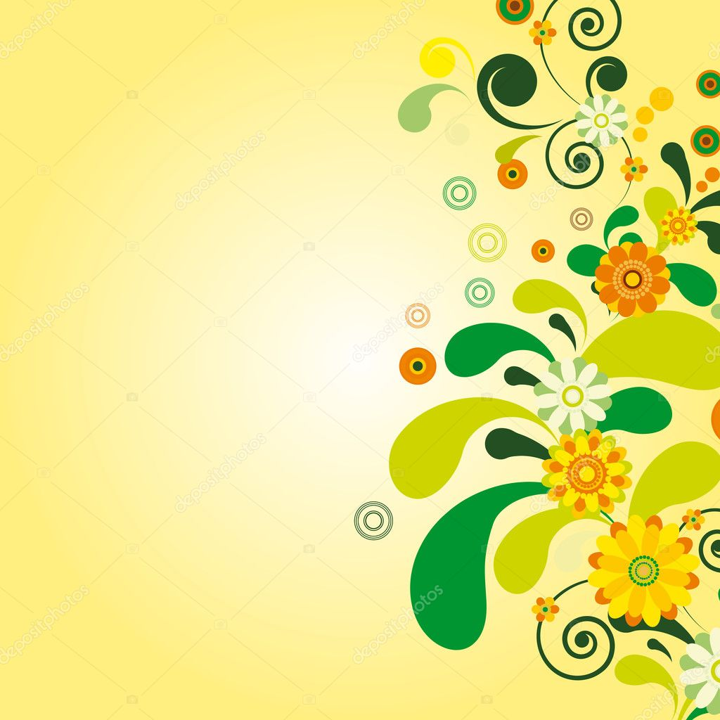 Vector Sun floral background. Illustration for your design  Stock Vector #3287273