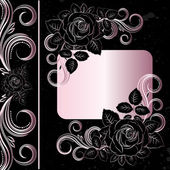 Vector black and pale pink flowers — Stock Vector