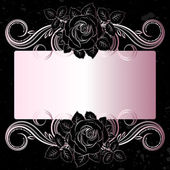 Vector black and pale pink flowers decoration — Stock Vector