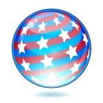 Eps USA America shiny button flag — Stock Vector