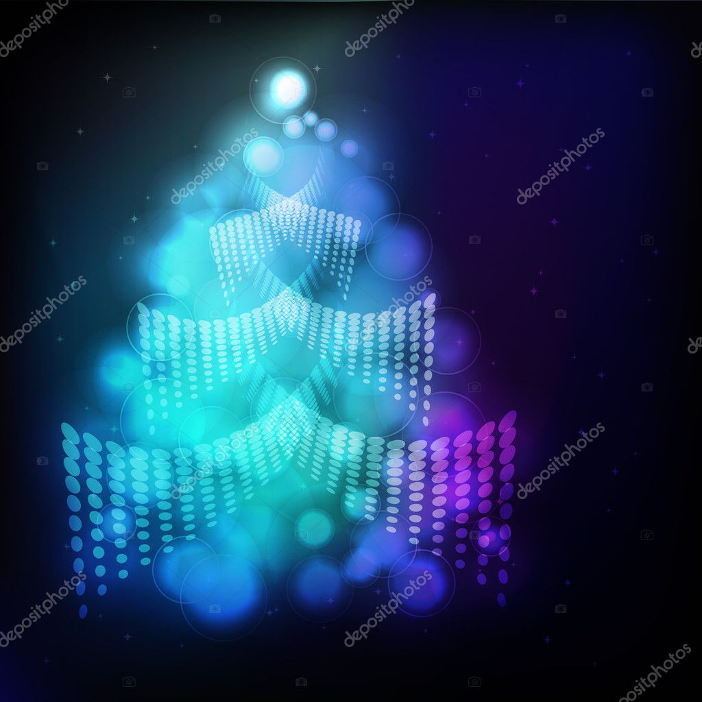 Eps Christmas background with Christmas tree Illustration for your design.  Stock Vector #3411588