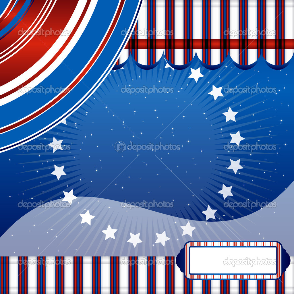 Stars And Stripes - Fourth of July vector ribbon background.  — ベクター素材ストック #3411605