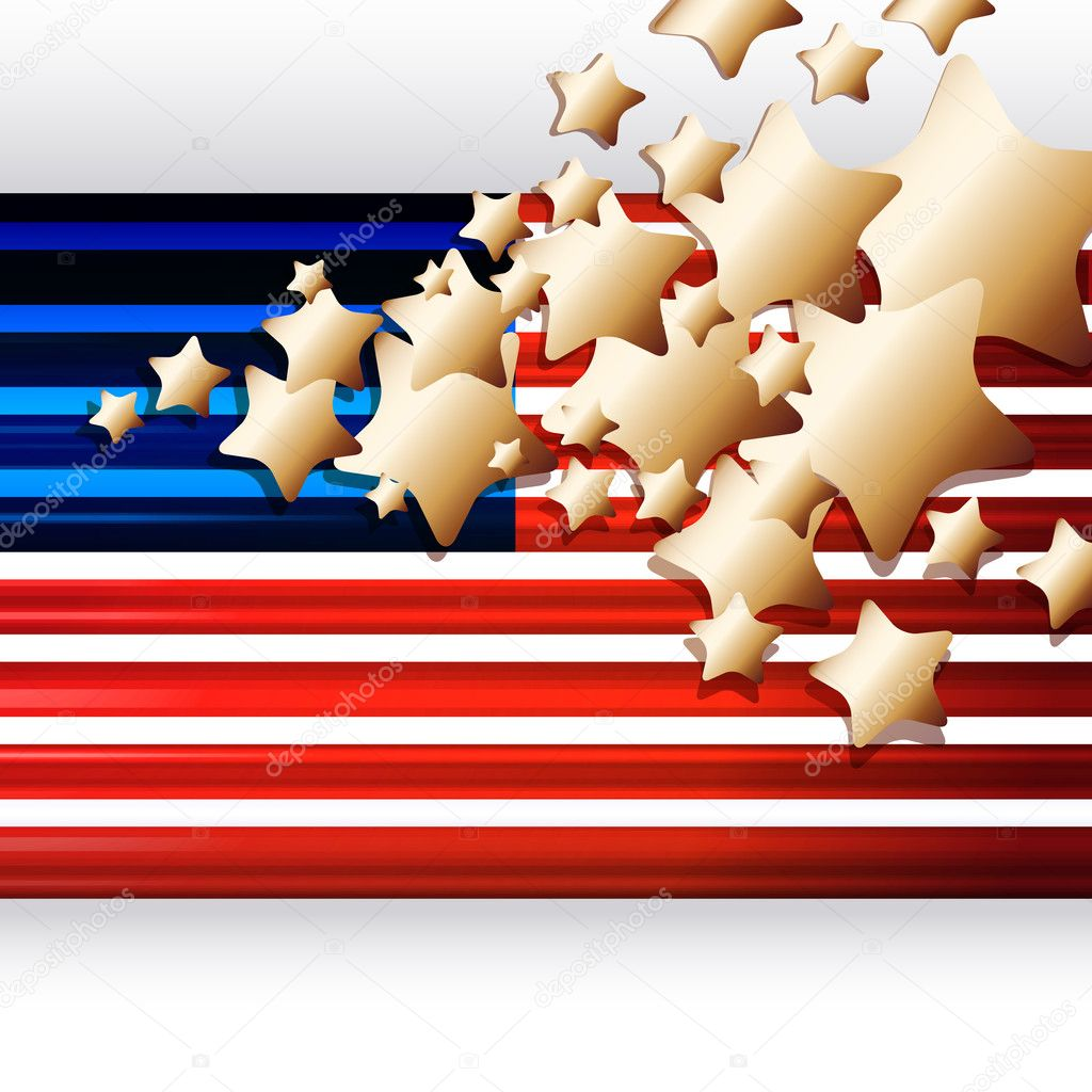 American Flag as background for Clip-Art  Illustration for your design. — Grafika wektorowa #3418814