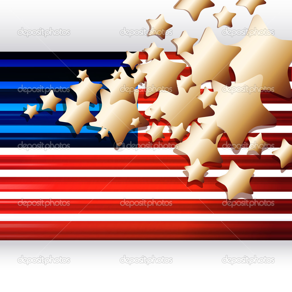 American Flag as background for Clip-Art  Illustration for your design. — Stock Vector #3418814