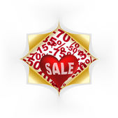Red heart white text sale under curled gold corners — Stock Vector