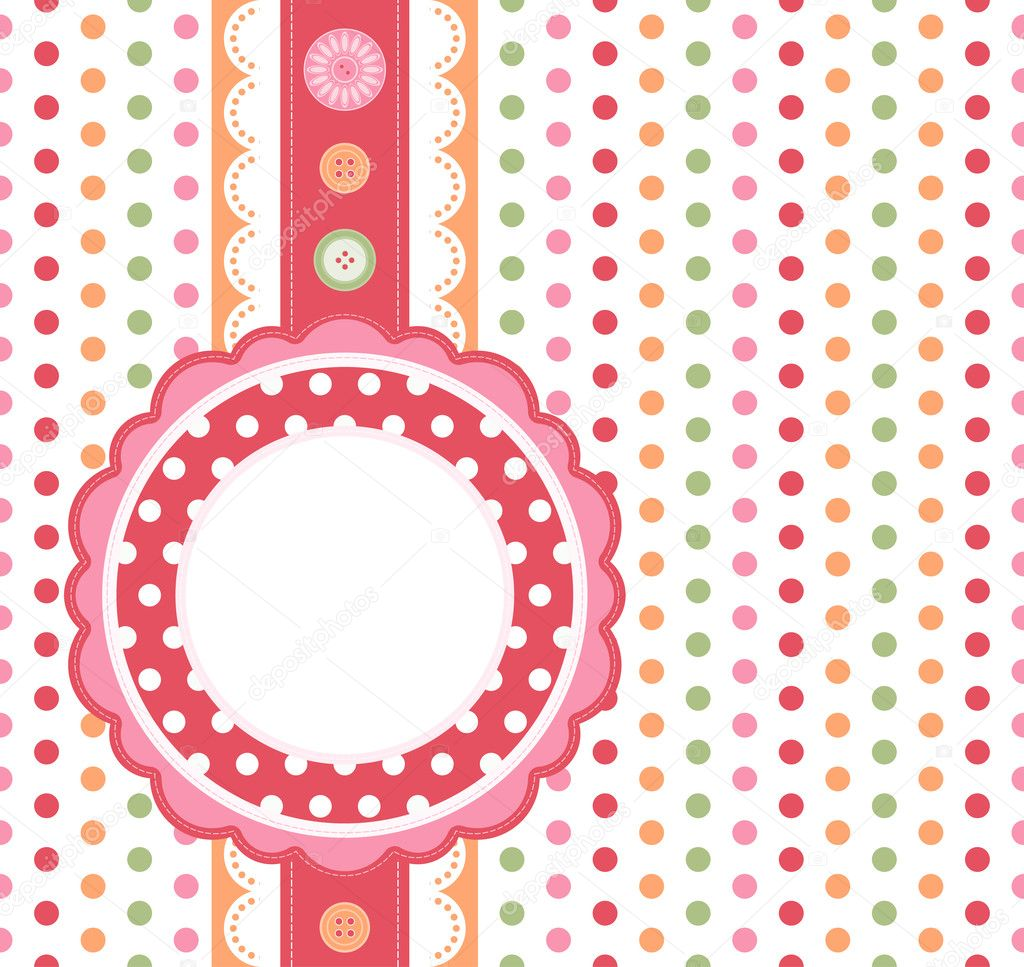 Polka dot design frame - Illustration for your design. — Imagen vectorial #3624412
