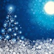 Abstract winter blue background with Christmas tree — ストックベクタ