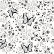 Seamless background with butterflies. — Stock Vector