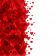 Background of hearts and flowers - Imagen vectorial