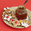 Stock Photo: Christmas gingerbread and honey