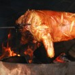 Roasted pig on the spit — Stock Photo