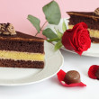 Stock Photo: Chocolate cake with rose and candies