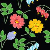 Flores sobre fondo negro. — Vector de stock