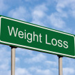 Weight Loss Green Road Sign Against Light Cloudscape Sky — Stock Photo