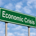 Economic Crisis Green Road Sign Against Light Cloudscape Sky — Stock Photo #3724833