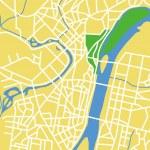 Векторная иллюстрация карта Пхеньяна — Cтоковый вектор