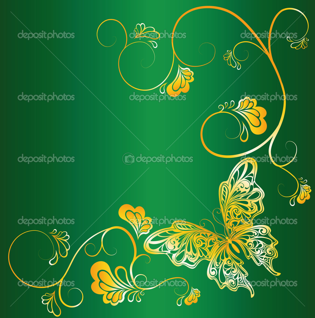 Vector illustration. butterfly on green background — Stock Vector #3198108