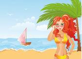 Beach Girl — Stock Vector