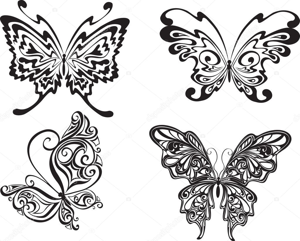 Vector illustration. Butterflies isolated on a white background — Stock Vector #3501149