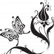 Butterfly and flowers - Imagen vectorial