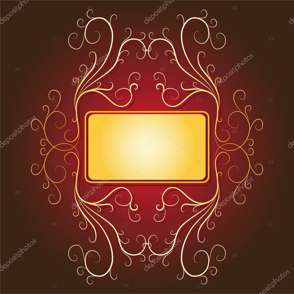 Vector gold banner.Retro-styled frame with banner & background. — Stock Vector #3545387
