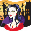 Beautiful vampire on halloween background — Stock Vector