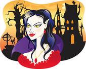 Beautiful vampire on halloween background — Stock Vector